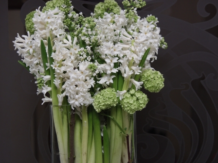 paralel arrangement with Hyacinth and Viburnum
