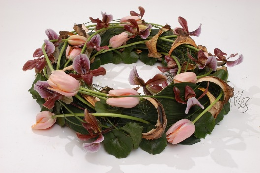 Wreath ,french Tulips and Phaphiopedilum-orchids
