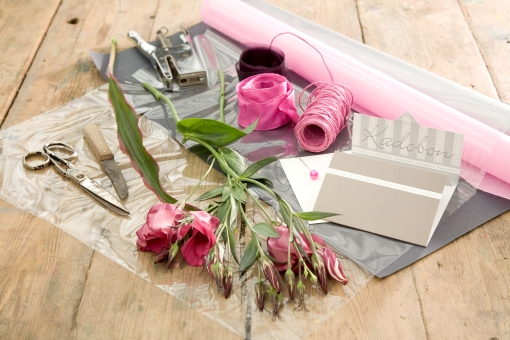 All the things you need for making a special gift-wrap.