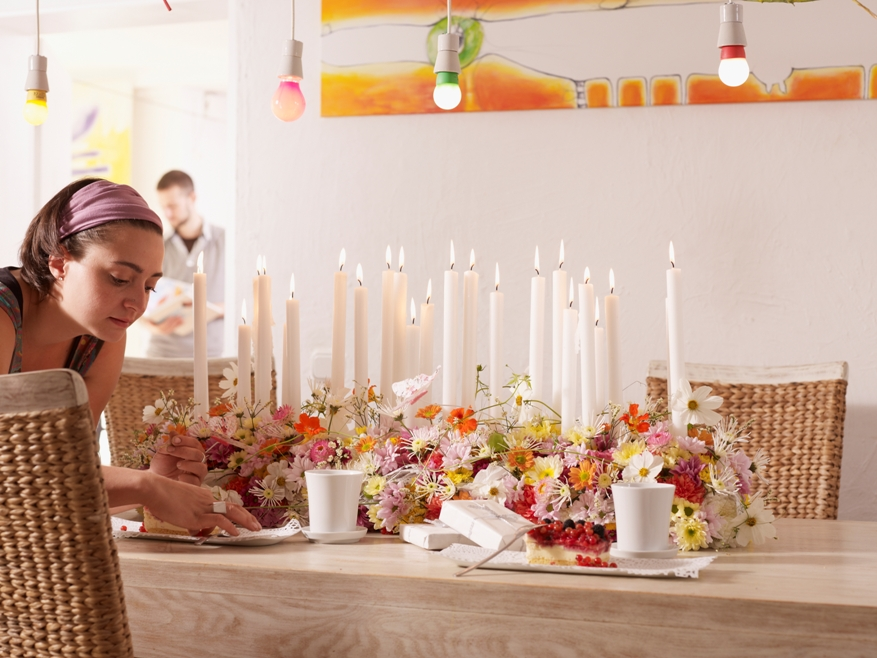 Dinner-table centerpiece with Chrysanthemums