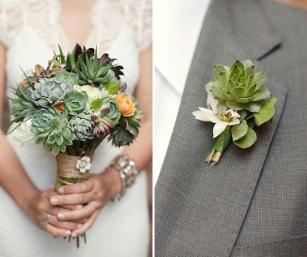Corsage and bouquet with Succulents