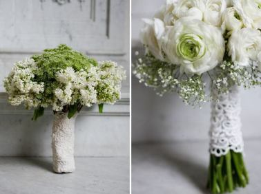 Hand-tied wedding-flowers with Ranunculus.