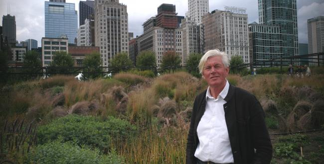Piet and the Lurie Garden in Chicago.