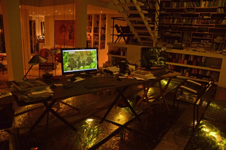 Patrick-Blanc-Interior-workspace-and-library-with-freshwater-aquarium